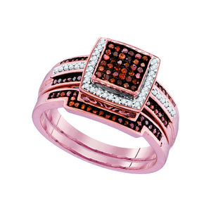 10kt Rose Gold Womens Round Red Color Enhanced Diamond Square Bridal Wedding Engagement Ring Band Set 3/8 Cttw