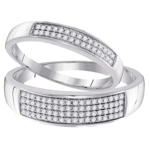 10kt White Gold His & Hers Round Diamond Matching Wedding Band Duo Set 1/3 Cttw