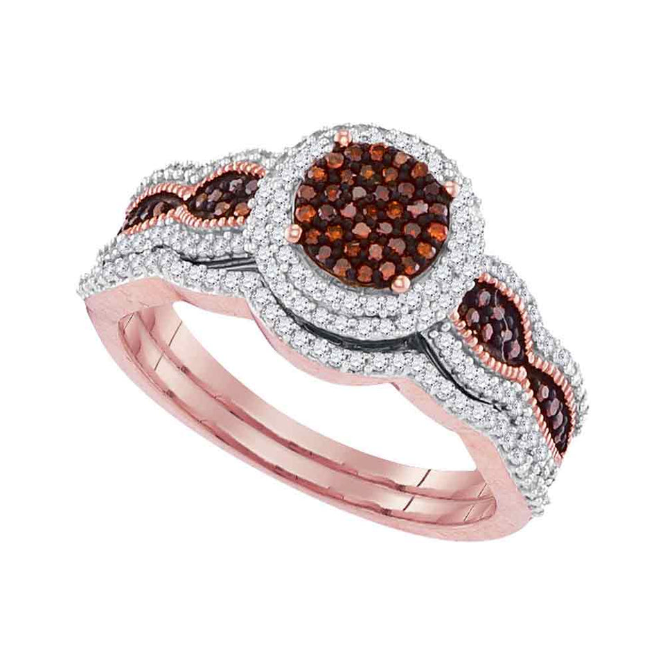 10kt Rose Gold Womens Round Red Color Enhanced Diamond Bridal Wedding Engagement Ring Band Set 1/2 Cttw