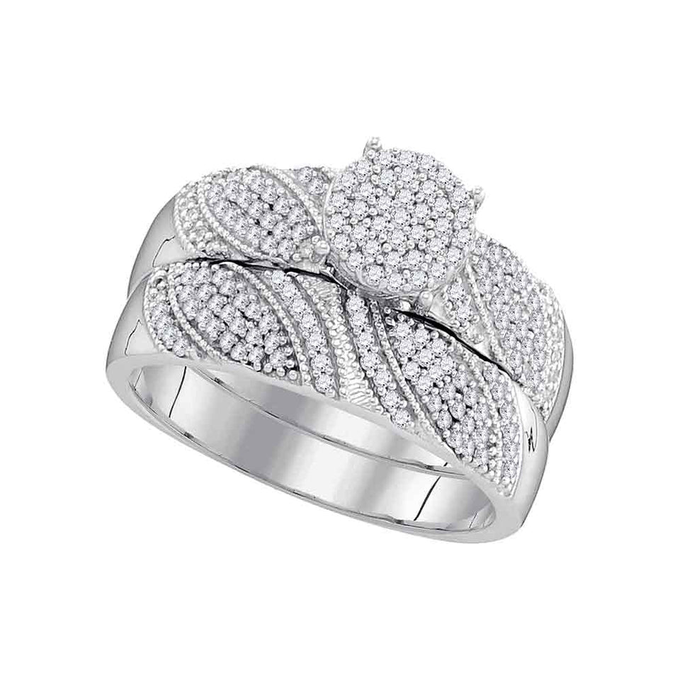 10kt White Gold Womens Round Diamond Milgrain Bridal Wedding Engagement Ring Band Set 3/8 Cttw