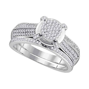 10kt White Gold Womens Round Diamond Cluster Bridal Wedding Engagement Ring Band Set 1/2 Cttw