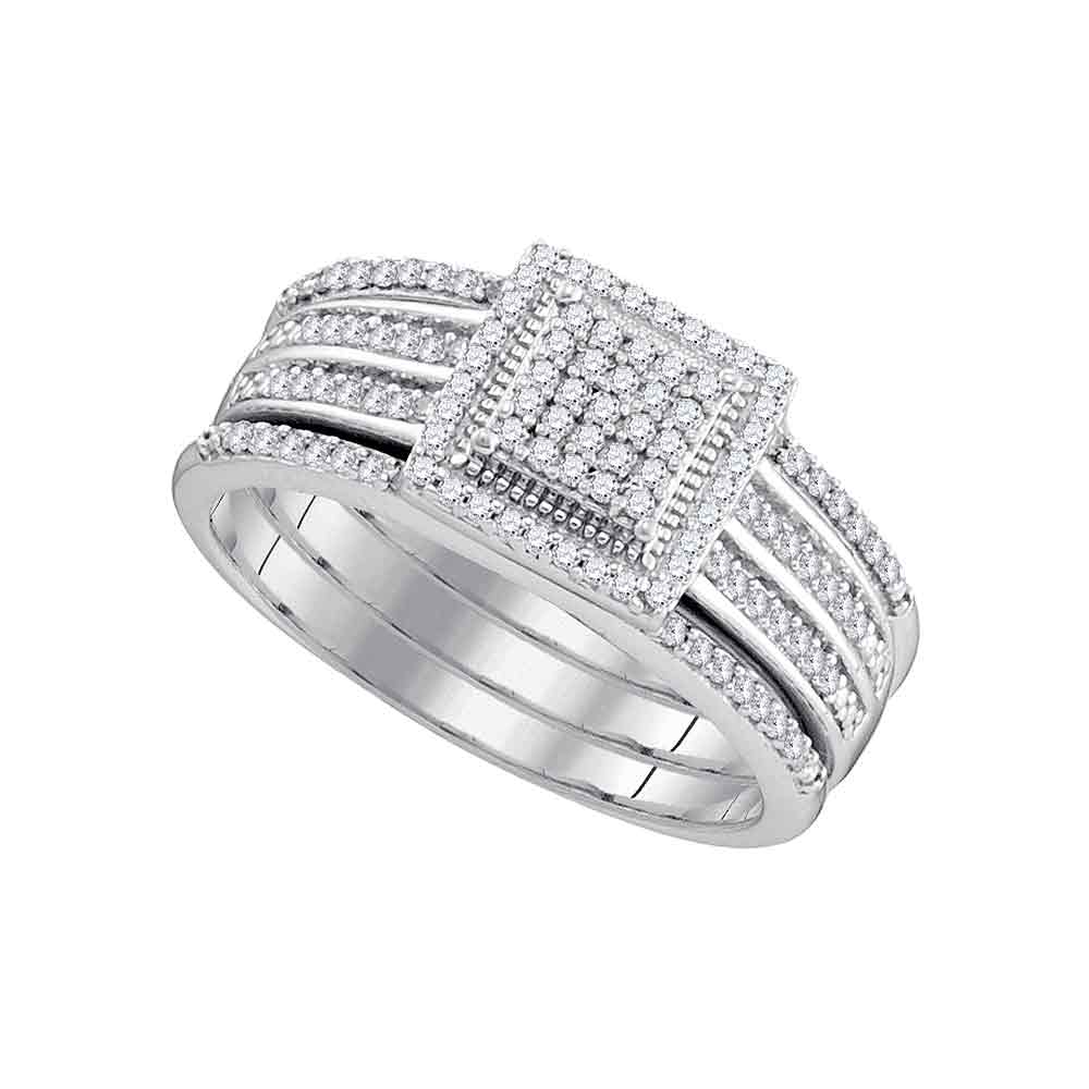 10kt White Gold Womens Round Diamond 3-Piece Cluster Bridal Wedding Engagement Ring Band Set 1/3 Cttw