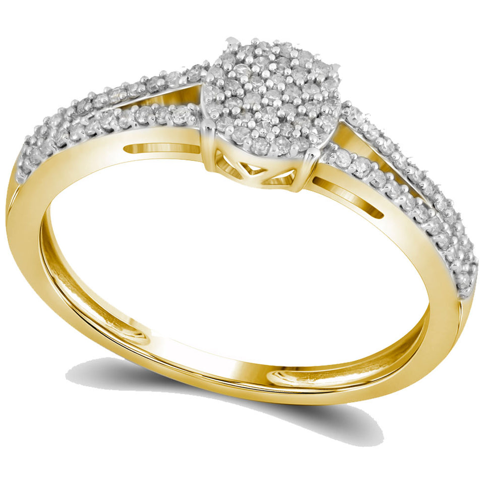 10kt Yellow Gold Womens Round Diamond Split-shank Circle Cluster Ring 1/5 Cttw