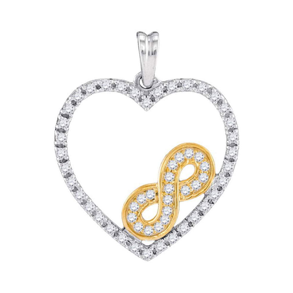 10kt Two-tone Gold Womens Round Diamond Nested Infinity Heart Pendant 1/4 Cttw