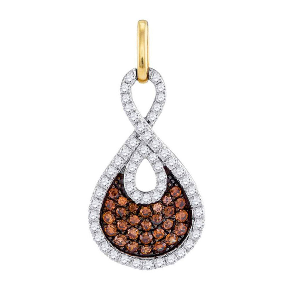 10kt White Gold Womens Round Brown Color Enhanced Diamond Teardrop Pendant 1/2 Cttw