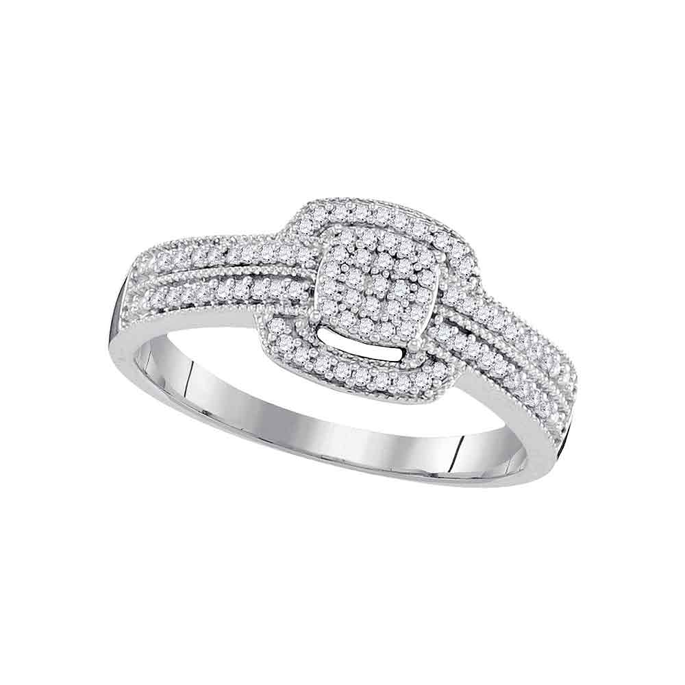 10kt White Gold Womens Round Diamond Square Cluster Bridal Wedding Engagement Ring 1/5 Cttw