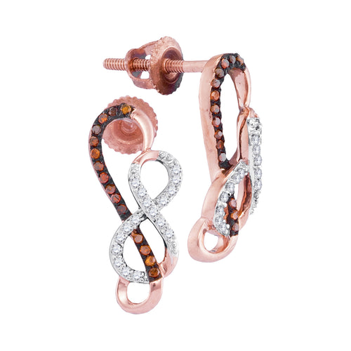10kt Rose Gold Womens Round Red Color Enhanced Diamond Infinity Screwback Earrings 1/6 Cttw