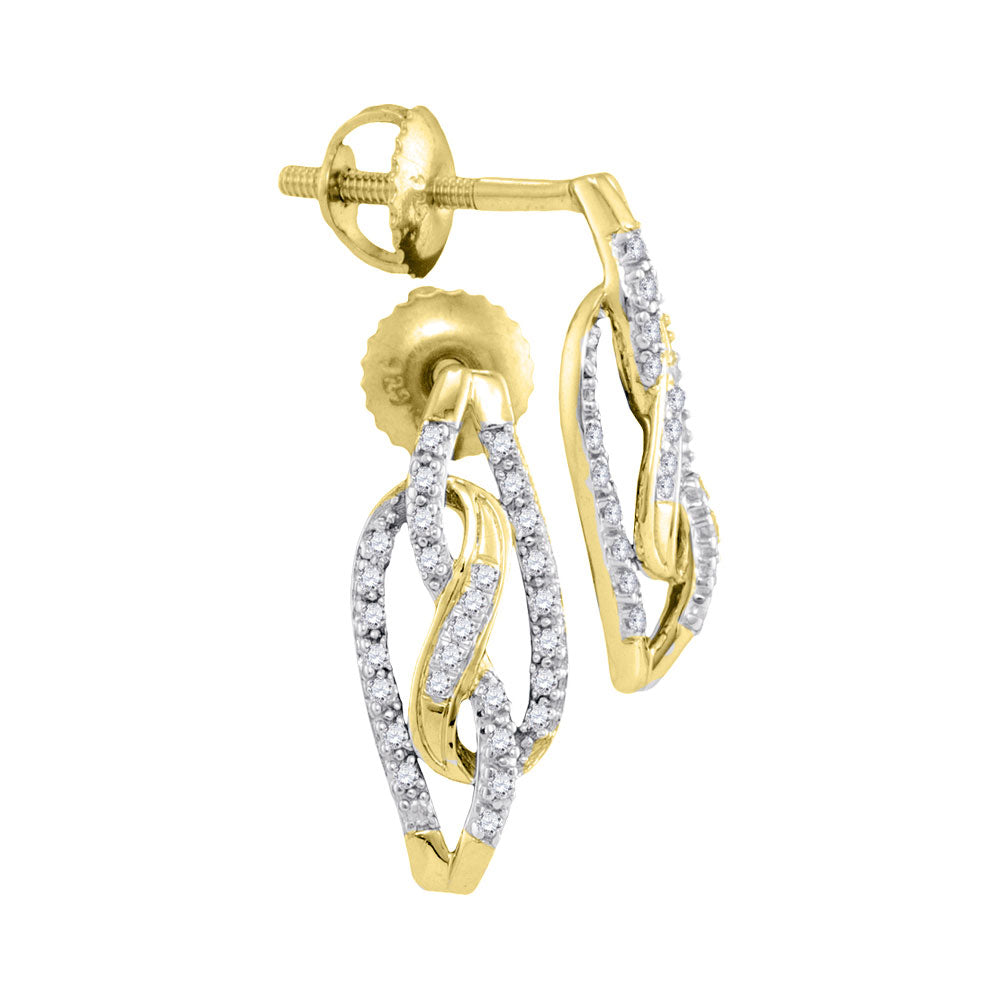 10kt Yellow Gold Womens Round Diamond Infinity Screwback Stud Earrings 1/6 Cttw