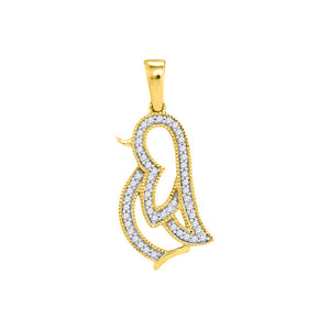 10kt Yellow Gold Womens Round Diamond Penguin Bird Animal Pendant 1/10 Cttw