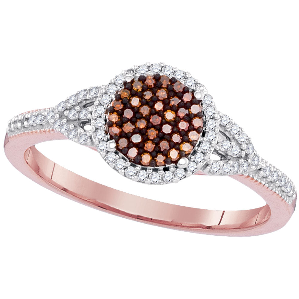 10kt Rose Gold Womens Round Red Color Enhanced Diamond Circle Cluster Ring 1/4 Cttw