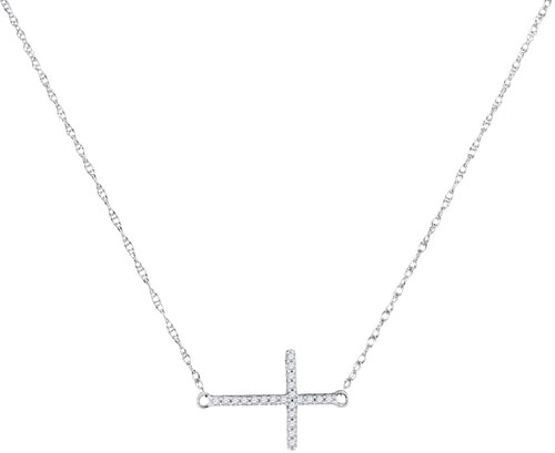 10kt White Gold Womens Round Diamond Sideways Horizontal Cross Religious Pendant Necklace 1/20 Cttw