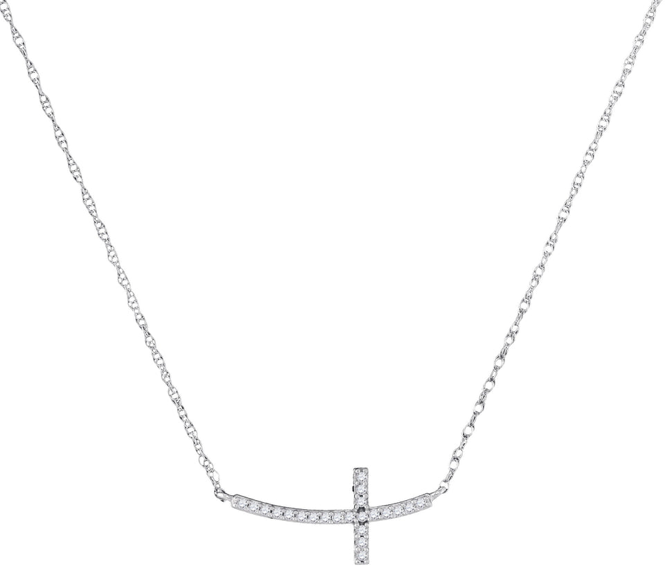 10kt White Gold Womens Round Diamond Small Horizontal Cross Pendant Necklace 1/20 Cttw