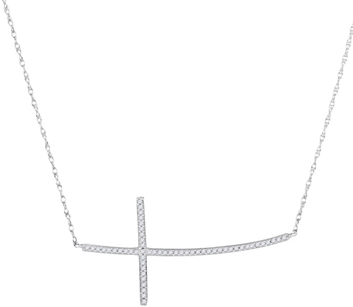 10kt White Gold Womens Round Diamond Horizontal Curved Cross Pendant Necklace 1/6 Cttw