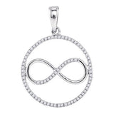 10kt White Gold Womens Round Diamond Infinity Circle Pendant 1/3 Cttw