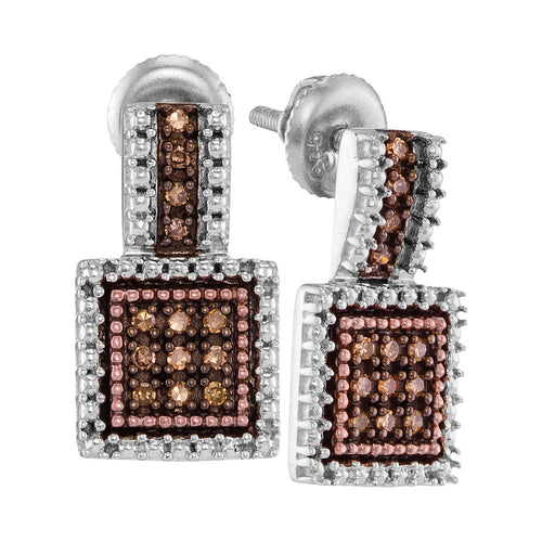 Sterling Silver Womens Round Cognac-brown Color Enhanced Diamond Square Cluster Earrings 1/5 Cttw