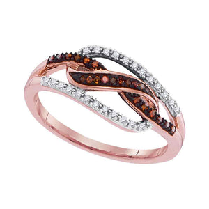 10kt Rose Gold Womens Round Red Color Enhanced Diamond Woven Fashion Ring 1/6 Cttw