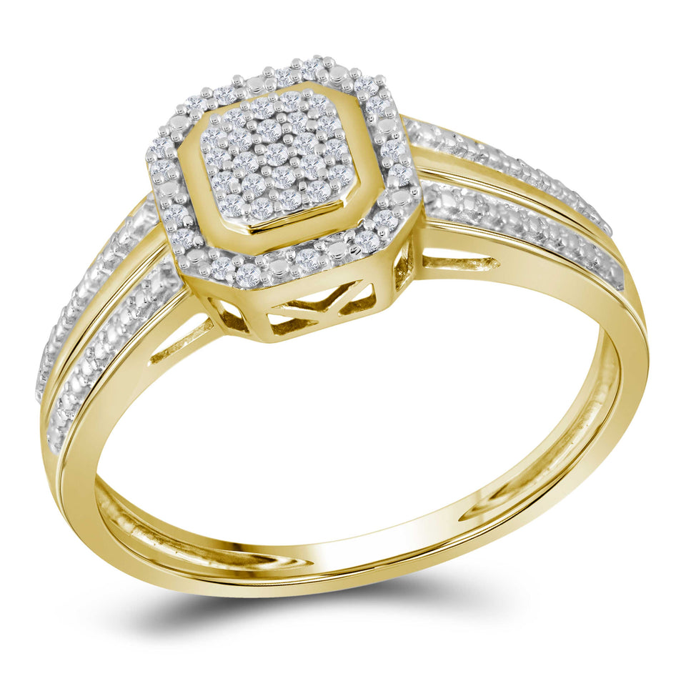 10kt Yellow Gold Womens Round Diamond Square Cluster Bridal Wedding Engagement Ring 1/10 Cttw