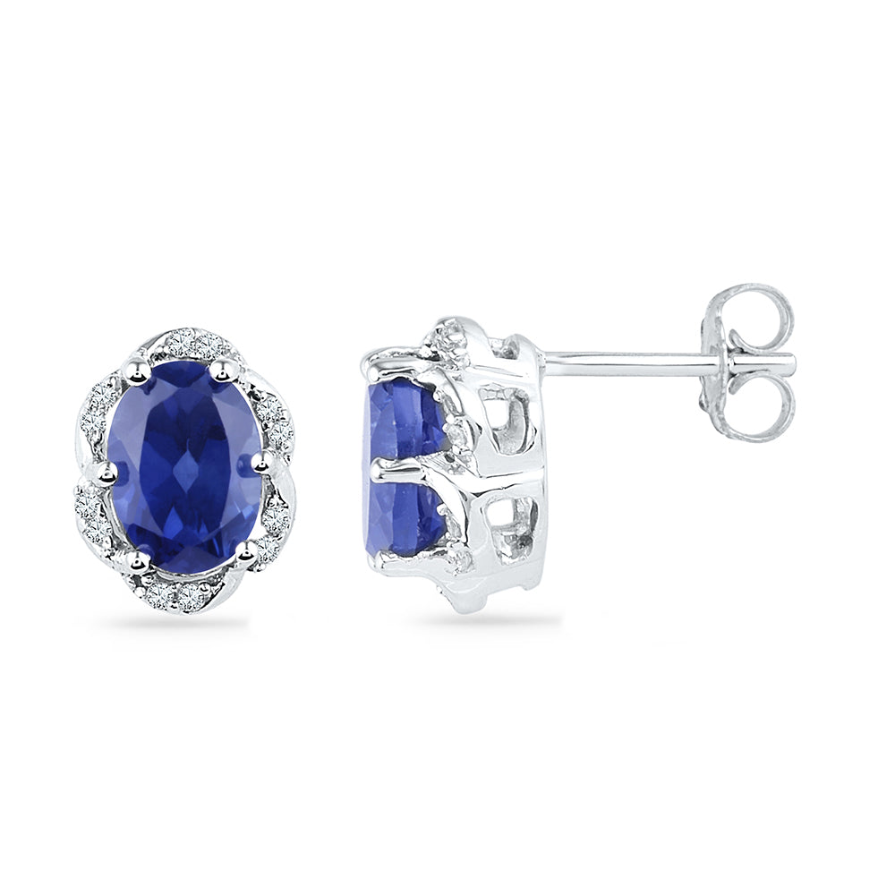 10kt White Gold Womens Oval Lab-Created Blue Sapphire Solitaire Diamond Earrings 2-1/2 Cttw