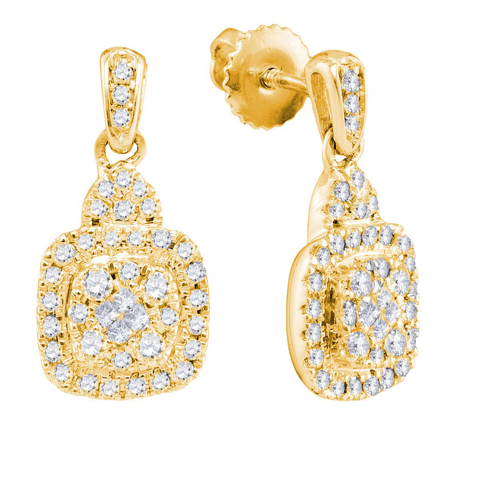14kt Yellow Gold Womens Princess Round Diamond Soleil Square Dangle Earrings 3/8 Cttw