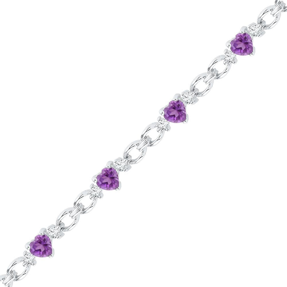Sterling Silver Womens Heart Lab-Created Amethyst Heart Bracelet 5-1/2 Cttw