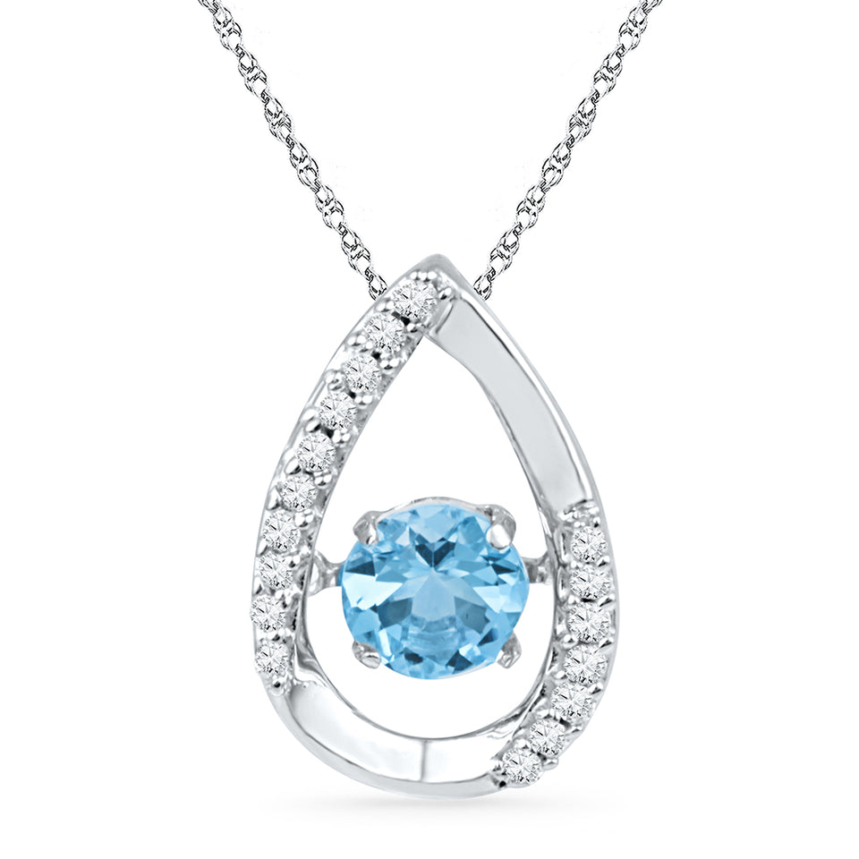10kt White Gold Womens Round Lab-Created Blue Topaz Solitaire Pendant 3/4 Cttw