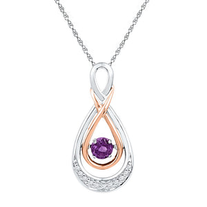10kt Two-tone Gold Womens Round Lab-Created Amethyst Diamond Moving Twinkle Teardrop Pendant 1/20 Cttw