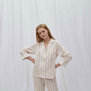 Beige Stripe Pyjama Set