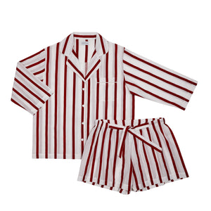 Red Stripe Shorts Set