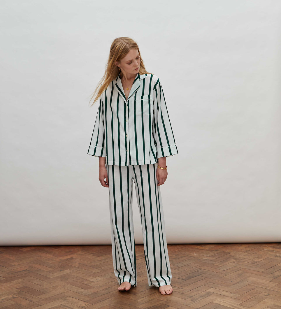 Green Stripe Pyjama Set