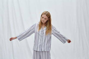 Powder Blue Stripe Pyjama Set