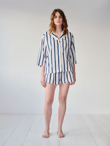 Navy Stripe Shorts Set