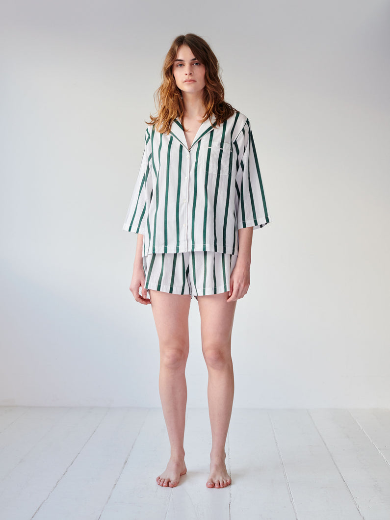 Green Stripe Shorts Set