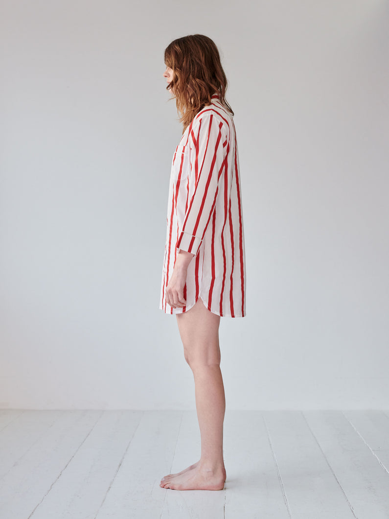 Red Sripe Nightshirt