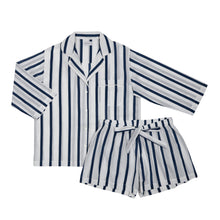 Load image into Gallery viewer, Navy Stripe Shorts Set