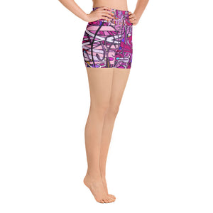 LOVE: IN PINK Women's Yoga Shorts