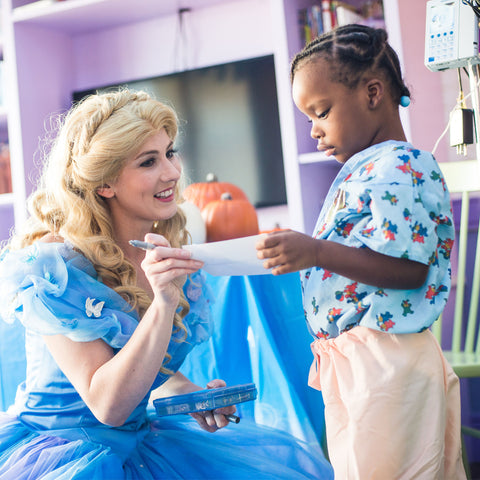 Princess Cinderella with a child cancer patient
