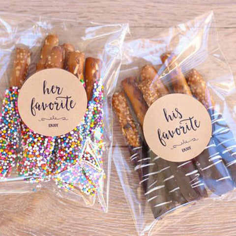 His and hers chocolate covered pretzels as personal wedding favor gift