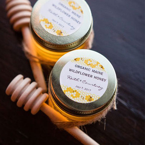 Jars of local honey wedding favor gift