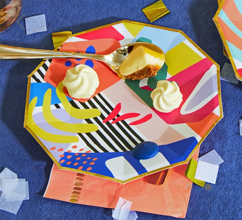 Matisse printed paper plate and coral paper napkin.