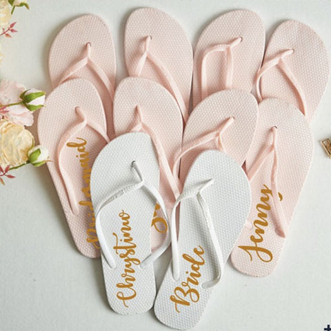 Light pink and white bridal flip flops