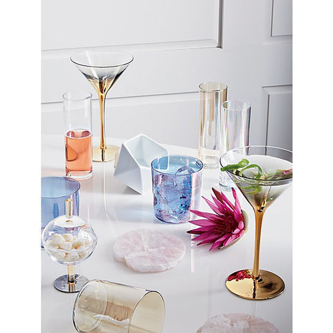 Iridescent glassware and modern martini glasses.