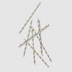 Blue and Gold Paper Straws (25 per pack)