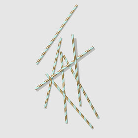 Mint and Gold Paper Straws (25 per pack)