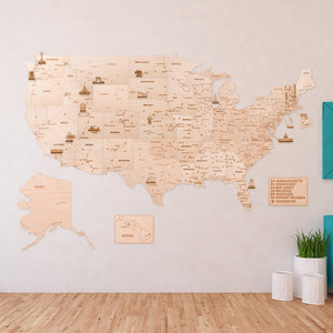 Woodtrick Wooden world map - Wooden 3D mechanical model. No glue or cutting required Construction set