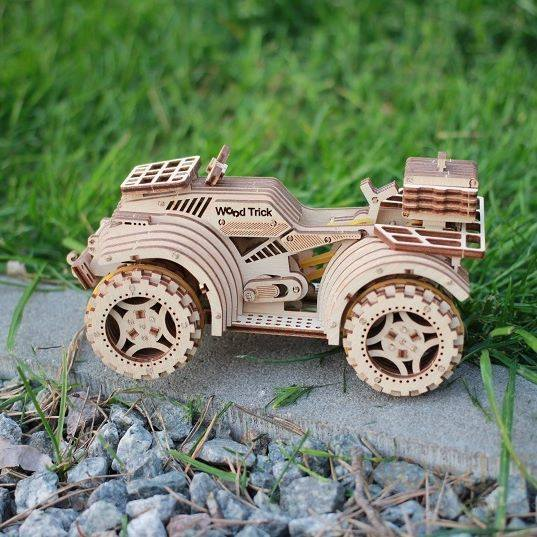 Quad Bike - WoodTrick's 3d wooden mechanical model. Learning game. Kits to build.