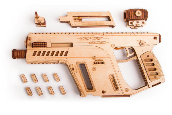 Assault Weapon, Wooden mechanical model, 3D puzzle, for children and adults. Perfect gift for him. Learning game, Educational toy, Wooden toys
