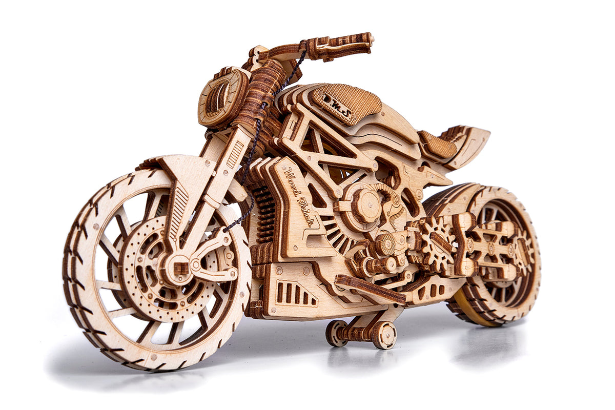 Motorcycle - WoodTrick wooden model kit. Wooden 3D mechanical model. wood building model kits. (7)