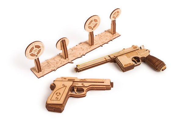 Set of Guns, Wooden mechanical model, 3D puzzle, for children and adults. Perfect gift for him. Learning game, Educational toy, Wooden toys