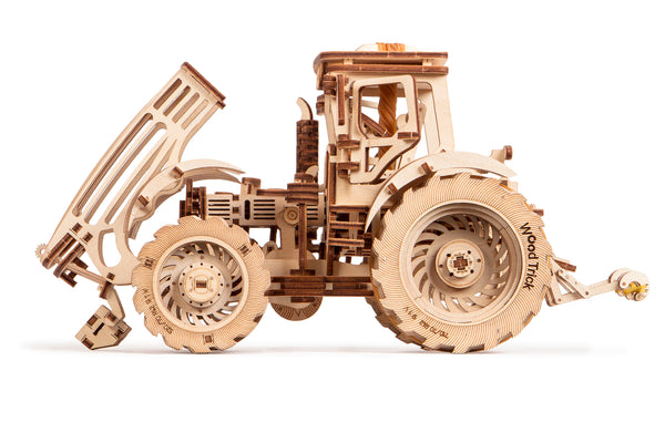 Tractor, Wooden mechanical model, 3D puzzle, for children and adults. Perfect gift for him. Learning game, Educational toy, Wooden toys