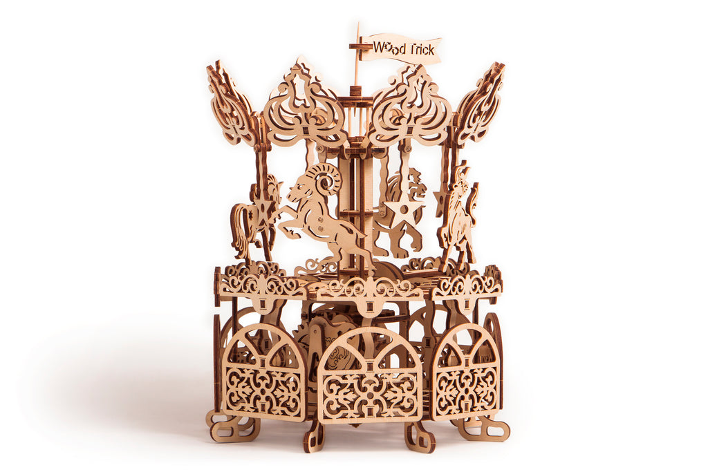 Wooden 3D mechanical Carousel model